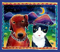 Dog & Cat in the Moonlight