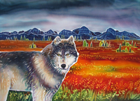 Wolf in the Autumn Tundra